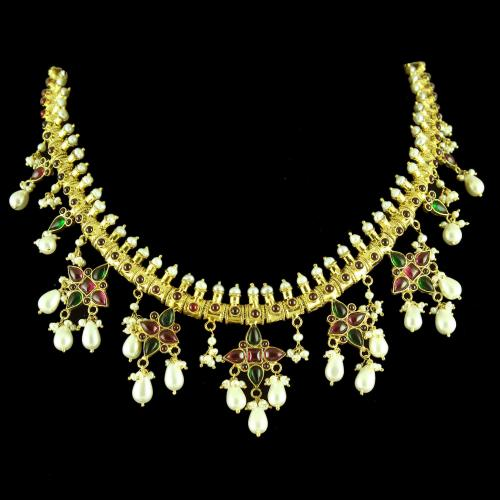 GOLD PLATED RED AND GREEN ONYX NECKLACE WITH PEARLS