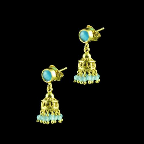 GOLD PLATED JHUMKA EARRINGS WITH MONALISA STONES