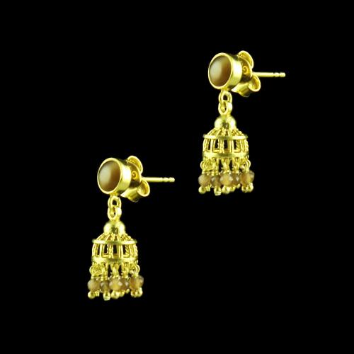 GOLD PLATED JHUMKA EARRINGS WITH MONALISA STONES