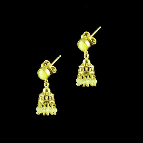 GOLD PLATED JHUMKAS WITH MONALISA STONES