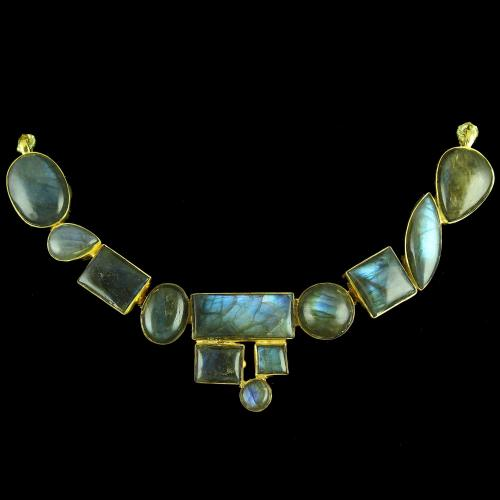 GOLD PLATED NECKLACE WITH CZ LABDORITE STONES