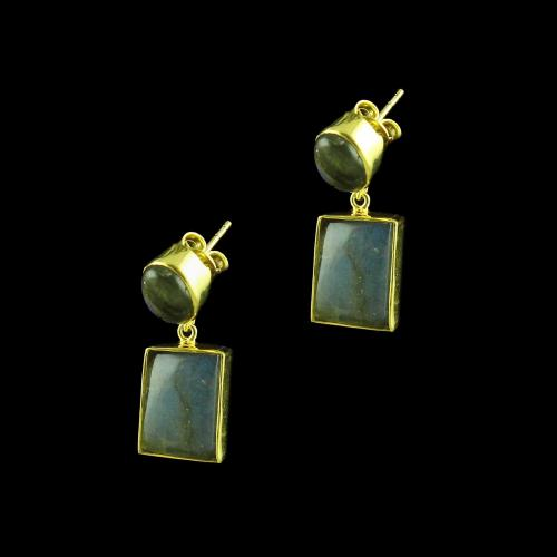 GOLD PLATED EARRINGS WITH CZ LABDORITE STONES