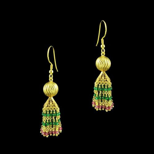 GOLD PLATED HANGING JHUMKA EARRINGS WITH RED AND GREEN HYDRO STONES