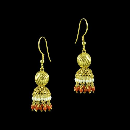 GOLD PLATED HANGING JHUMKA EARRINGS WITH CORAL AND PERALS