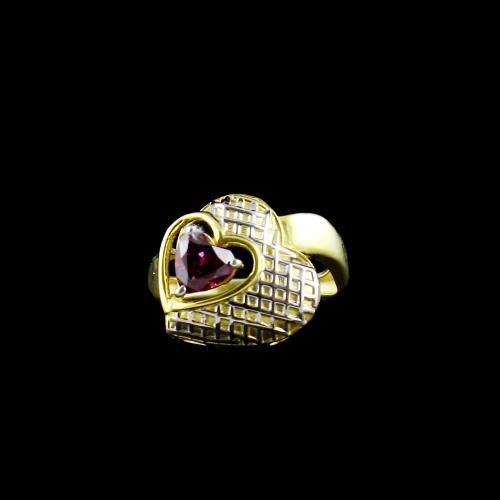 GOLD PLATED RED SWAROVSKI HEART RING