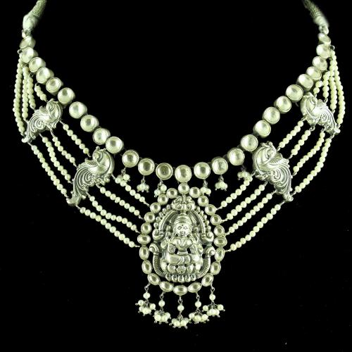 GOLD PLATED OXIDIZED LAKSHMI DESIGN KUNDAN  NECKLACE WITH PEARL