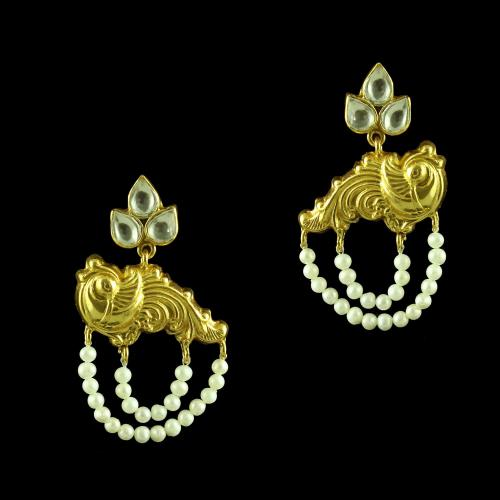 GOLD PLATED OXIDIZED PEACOCK KUNDAN  EARRINGS WITH PEARL