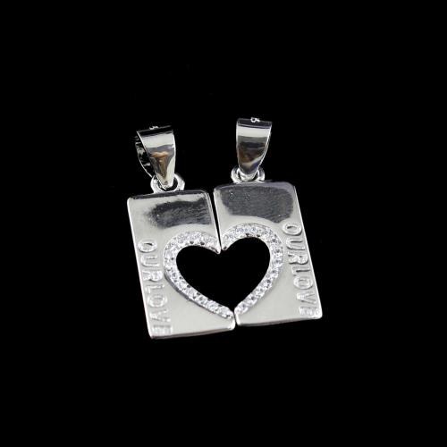 STERLING SILVER HEARTIN COUPLE PENDANT