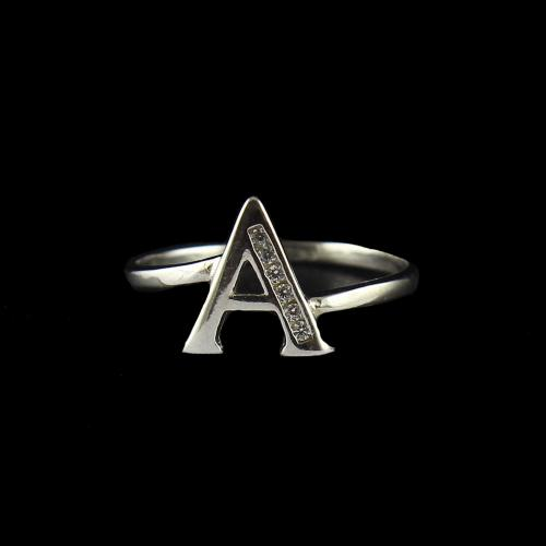 Zircon Stone A Letter Ring