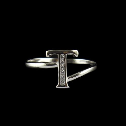 Zircon Stone T Letter Ring