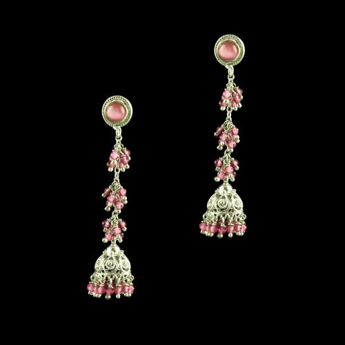 OXIDIZED SILVER MONALISA JHUMKA EARRINGS