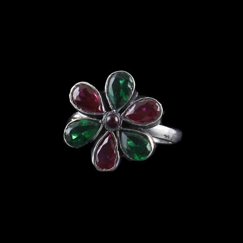 OXIDIZED SILVER FLORAL TOE RING WITH RED AND GREEN CORUNDUM STONES