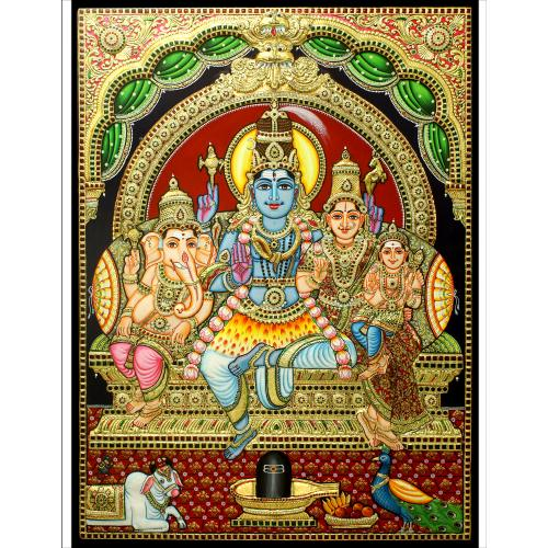 TANJORE PAINTING SHIVA FAMILY EMB VERTICAL