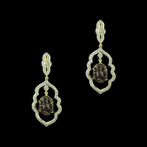 GOLD PLATED CURVED GANESHA CZ EARRINGS