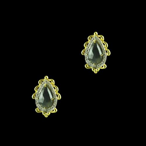 GOLD PLATED CURVED FLORAL CZ EARRINGS