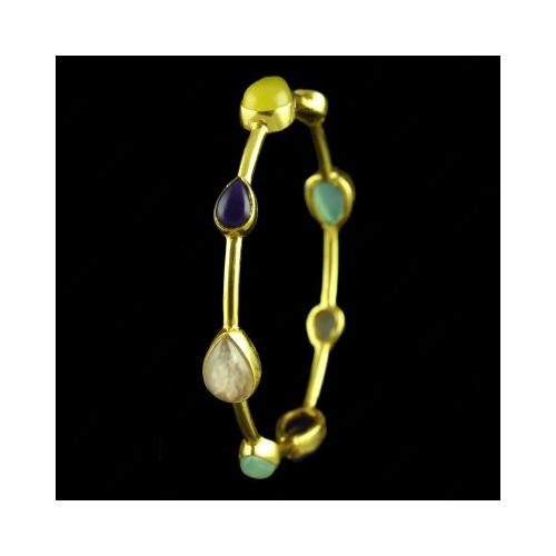 GOLD PLATED MULTI COLOR ONYX BANGLE