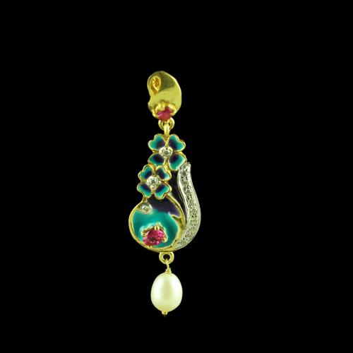 GOLD PLATED ENAMEL AND CZ WITH PEARL EARRINGS