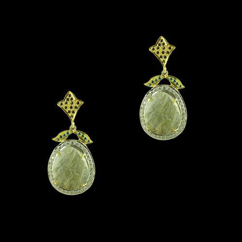 GOLD PLATED CURVED FLORAL  AGATE AND CZ  EARRING