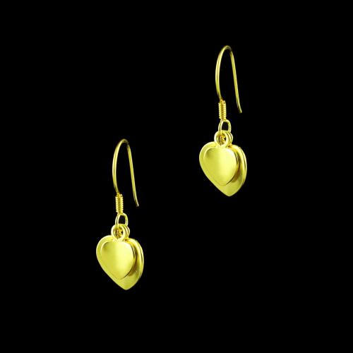 E5638 Sterling Silver Gold Plated Heart Shape Earrings