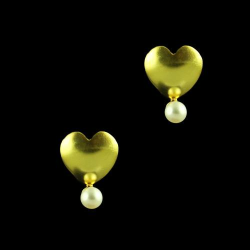 GOLD PLATED HEART SHAPE WITH PEARL EARRINGS