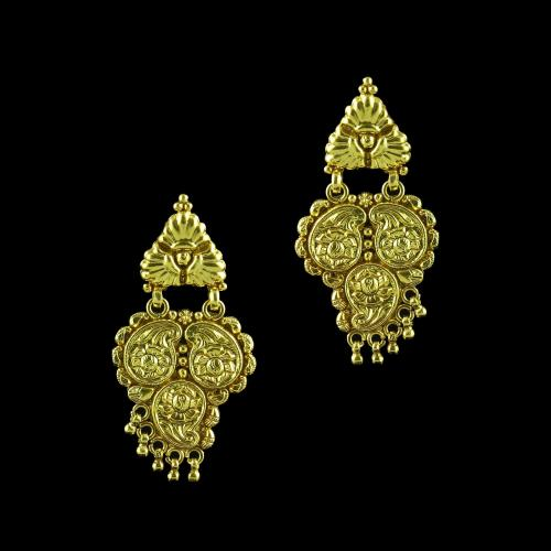 GOLD PLATED FLORAL DROPS EARRINGS