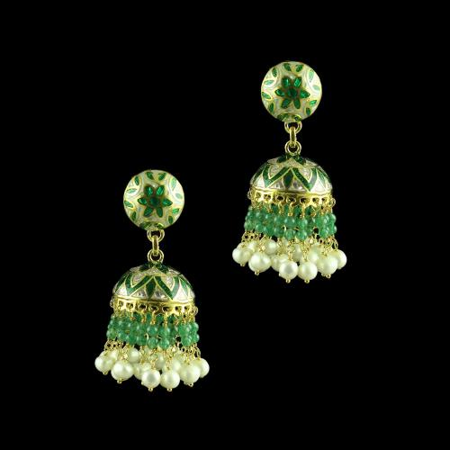 GOLD PLATED ENAMEL EARRINGS WITH PEARL