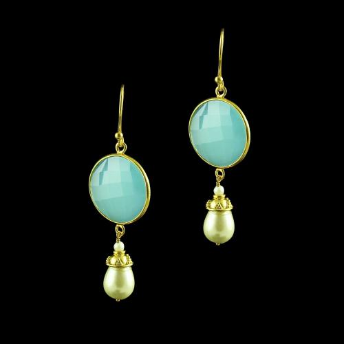 GOLD PLATED OXIDIZED HANING EARINGS WITH PEARL