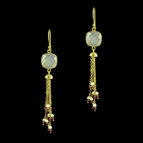 GOLD PLATED CZ EARRINGS WITH JADE AND QUARTZ BEADS