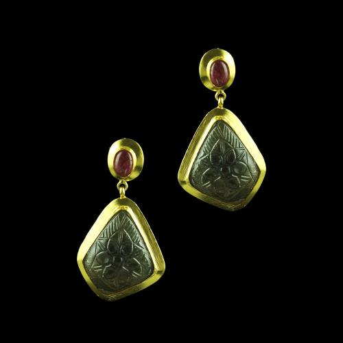 GOLD PLATED CURVED STONES DROPS EARRINGS