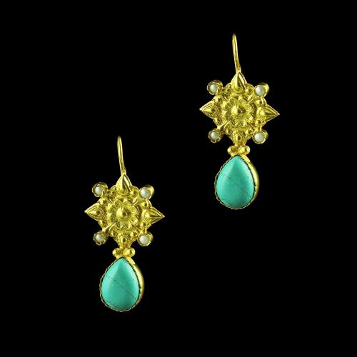 GOLD PLATED TURQUOISE STONE AND PEARL HANGING EARRINGS