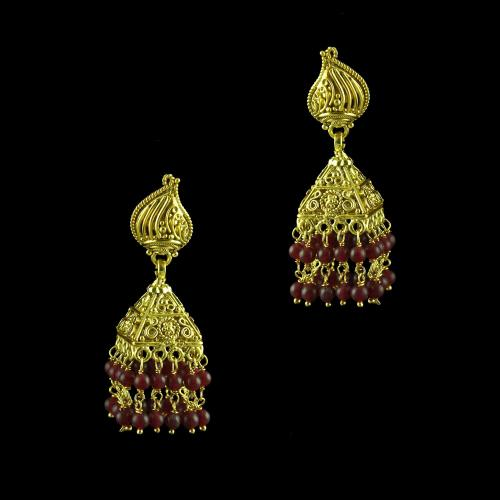 GOLD PLATED JHUMKAS WITH GRANET STONES