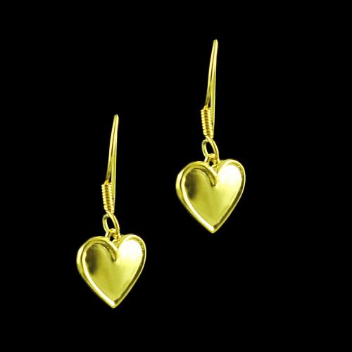 GOLD PLATED HEART SHAPED HANGING EARRINGS