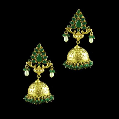 GOLD PLATED JHUMKAS GREEN HYDRO PEARL AND JEAD EARRINGS