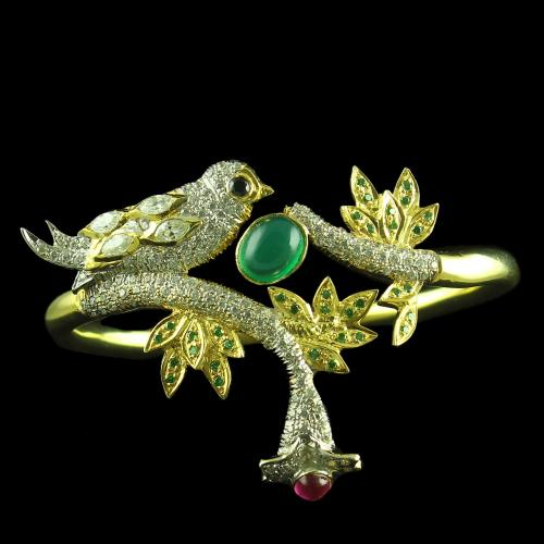 GOLD PLATED CZ  GREEN AND RED ONYX BANGLE