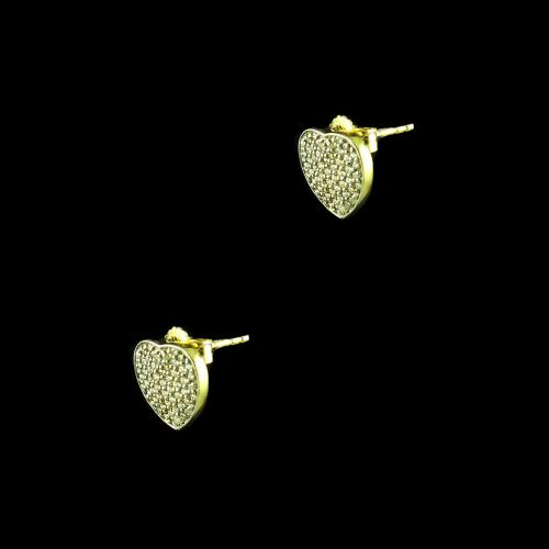 E1374 Sterling Silver Heart Shape Earrings  Studded Zircon Stones