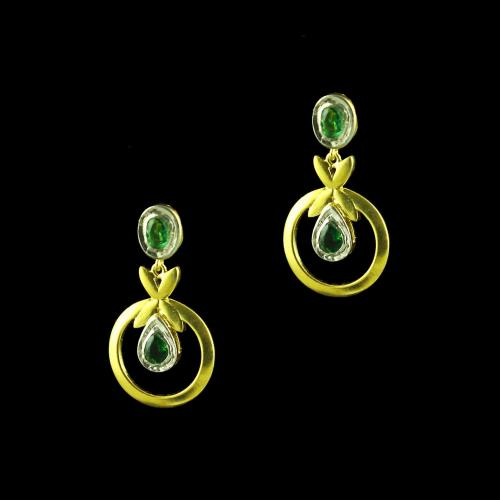 GOLD PLATED GREEN HYDRO DROPS EARRINGS