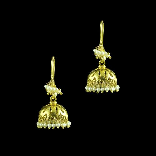 GOLD PLATED JHUMKAS WITH PEARL HANGING EARRINGS