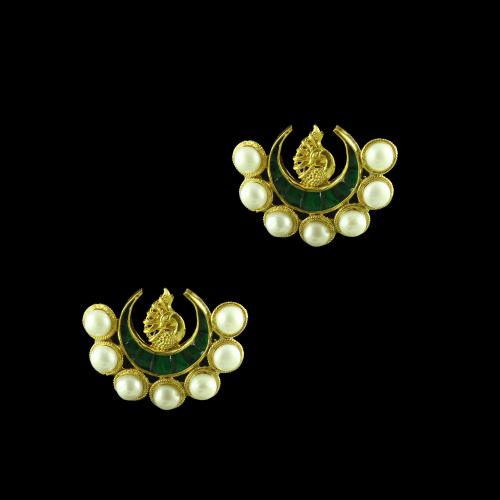 GOLD PLATED PEACOCK PEARL AND GREEN ONYX EARRINGS