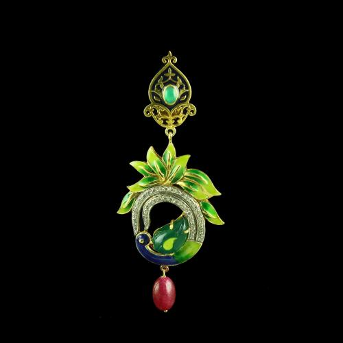 GOLD PLATED PEACOCK CZ WITH GREEN AND RED ONYX EARRINGS