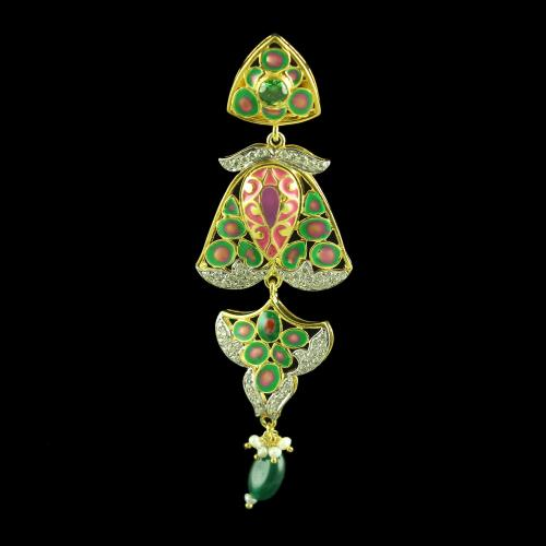 GOLD PLATED CZ WITH GREEN ONYX AND PEARL EARRINGS