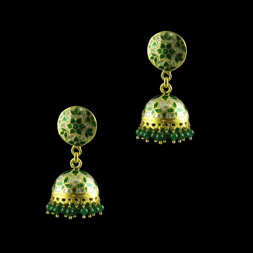 GOLA PLATED JHUMKAS WITH GREEN JEAD BEEDS EARRINGS