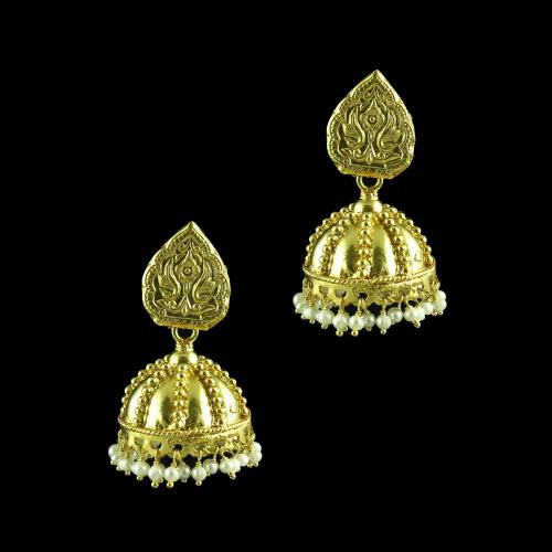 GOLD PLATED JHUMKAS WITH PEARL EARRINGS