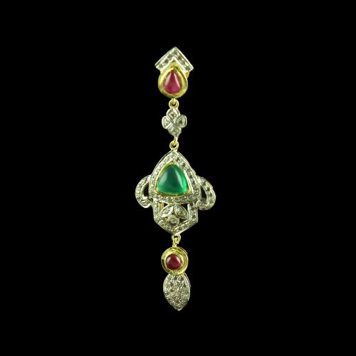 GOLD PLATED GREEN ONYX AND CZ EARRINGS