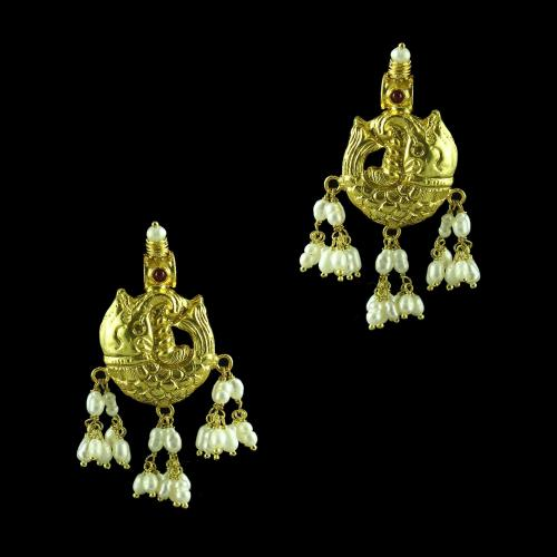 GOLD PLATED FISH SHAPE WITH PEARL EARRINGS