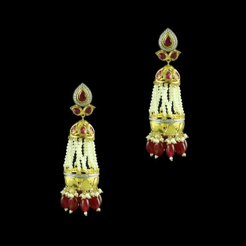 GOLD PLATED RED ONYX AND RUBY WITH PEARL JHUMKAS EARRINGS