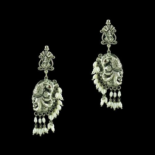 OXIDIZED PEACOCK NAKSHI WITH PEARL EARRINGS