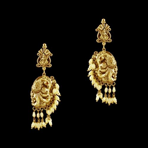 GOLD PLATED PEACOCK  NAKSHI WITH PEARL EARRINGS