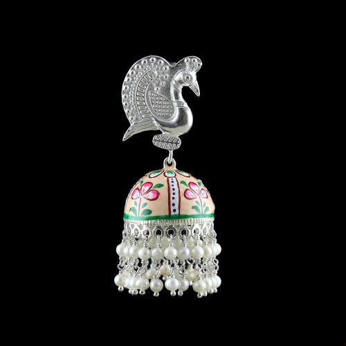 PEACOCK ENAMEL JHUMKAS WITH PEARL