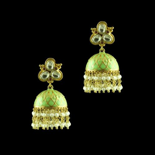 GOLD PLATED KUDAN ENAMEL JHUMKAS WITH PEARL