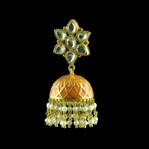 GOLD PLATED KUDAN ENAMEL JHUMKAS WITH PEARL